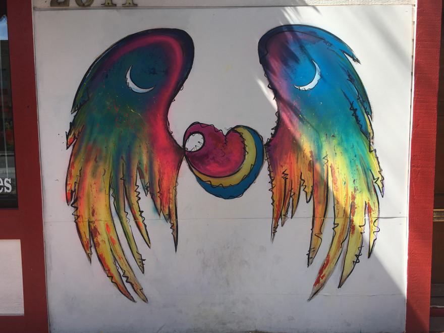 Colorful wings mural