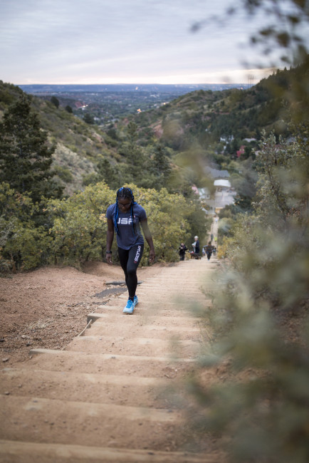 Person walking up Manitou Incline